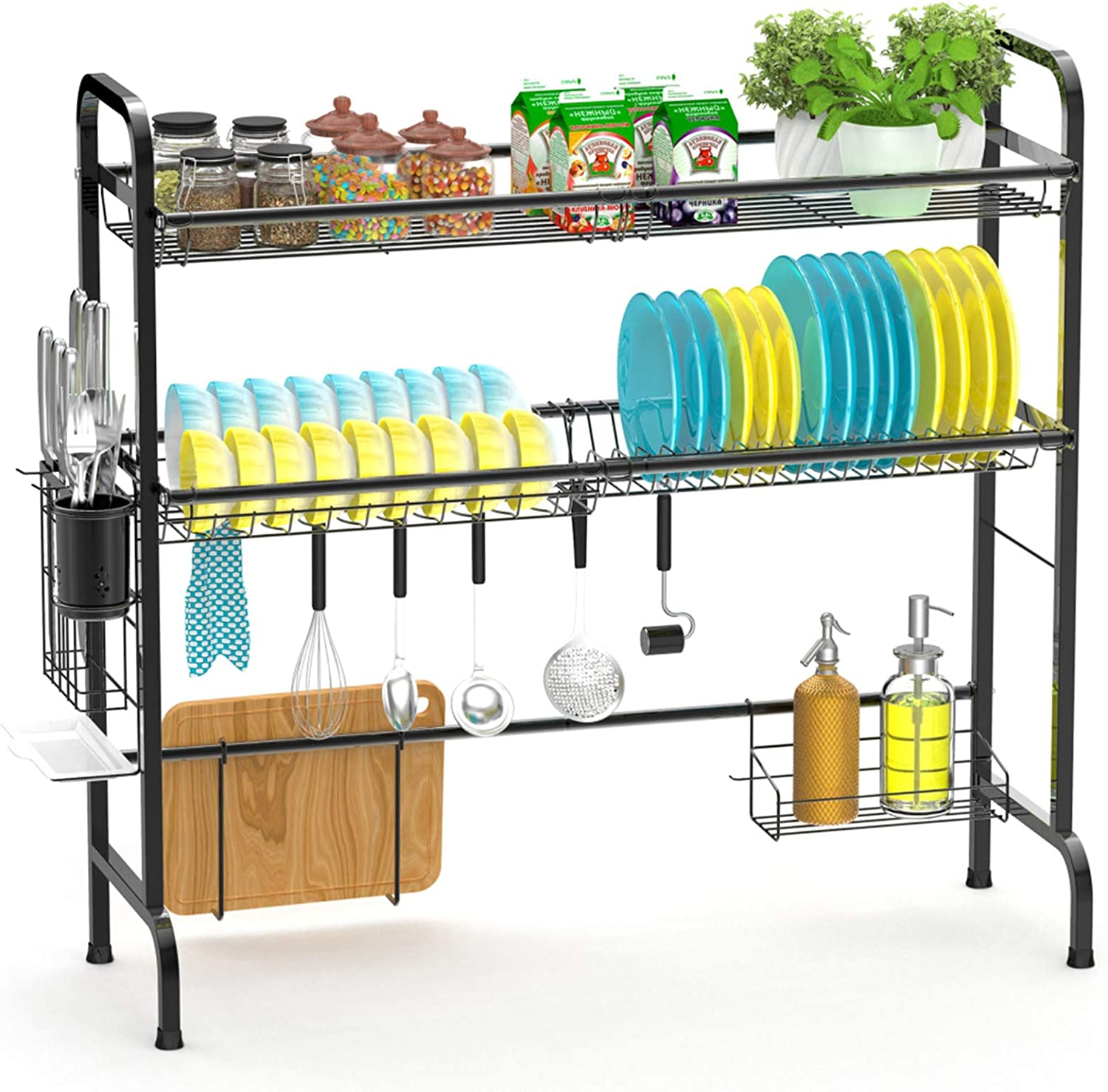 Over cheap the Sink Dish Rack 2-Tier Special sale item Premium 201 Stee Large Stainless