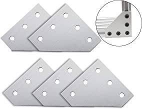 Iztoss 5-Hole 90 Degree L Shape Outside Joining Plate for 2020 Series Aluminum Profile, Joint Bracket Plate (5pcs/Pack)