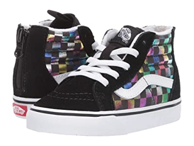 Vans Kids Sk8-Hi Zip (Infant/Toddler) ((Iridescent Check) Black/True White) Girls Shoes