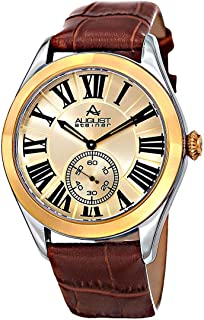 August Steiner Men's Gold Dial Leather Band Watch - AS8203SSBR