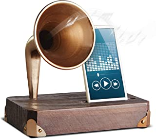 Refinery and Co. Wooden Smartphone Dock with Vintage Sound Amplifier, Classic Horn Acoustically Boosts Music and Audio, Unplugged and Battery-Free, Stylish, Fun Gift and Home DÈcor