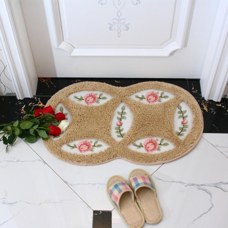 Garden mats pink Door mats Bathroom Water-Absorbing Anti-skidding mat Terrace Kitchen Floor mat Bedside mats-O 60x90cm(24x35inch)