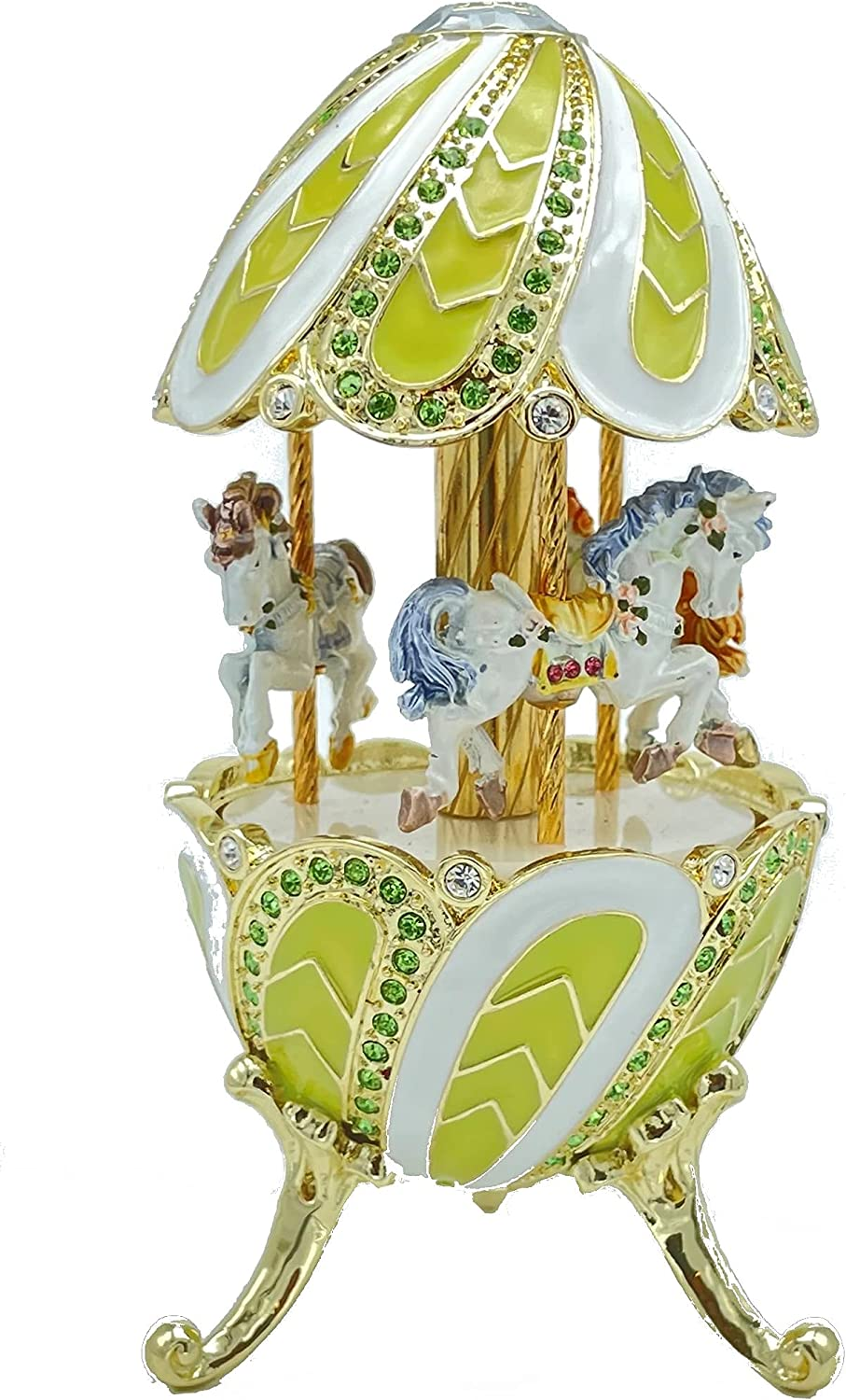 Green Carousel With White New arrival Horses Animer and price revision Playing lake Tcha Swan Music By