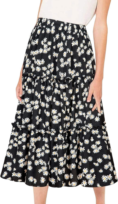 MiShow Daisy Floral Print Flounce Skirt Pleated Ruffle Hem Cute Beach A Line Short Skirts