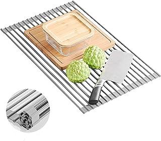 水切りラック 折りたたみ SANWA シリコン キッチン用 くるくるたためる 抗菌 コンパクト 錆びない 省スペース 食器 プレート 52x33cm 日本語説明書付き (グレー)