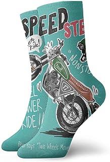 Hunter qiang, Calcetines para mujer y hombre, con eslogan Speedster con dibujos animados de moto y casco, 30 cm