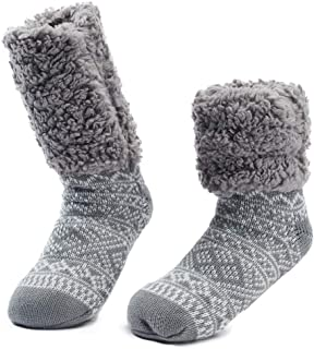 Ladies Girls Knitted Cable Booties Sock Slippers with Pom Pom uk 4-8