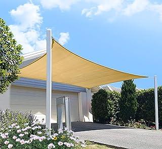 Outdoor Sun Shade Sail Canopy, 10' x 12' Rectangle Shade Cloth UV Block Sunshade Fabric - Patio Cover Awning Shelter for Pergola Backyard Garden Yard (Sand Color)