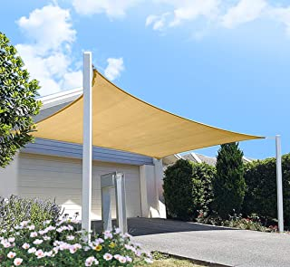 diig Patio Sun Shade Sail Canopy, 10' x 12' Rectangle Shade Cloth UV Block Sunshade Fabric - Outdoor Cover Awning Shelter for Pergola Backyard Garden Yard (Sand Color)