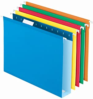 Pendaflex Extra Capacity Hanging File Folders, Letter Size, Reinforced, 2 Inch Expansion, Assorted Colors, 25 Per Box (415...