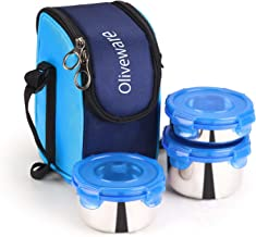 Oliveware Macho Lunch Box - Blue   Steel Range   Microwave Safe & Leak Proof   3 Air-Tight Containers with Bag   Keep Food Hot   School, College & Office Use