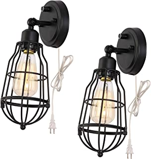 Kingmi Wire Cage Industrial Wall Sconce Plug-in Wall Light 4.9ft Clear Silver Cord Vintage Style for Headboard Bedroom Nightstand, Porch or Bathroom Vanity (Set of 2)