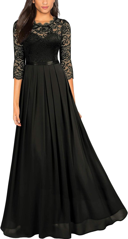 Miusol Women's Formal Floral Lace Wedding Bridesmaid Maxi Dress