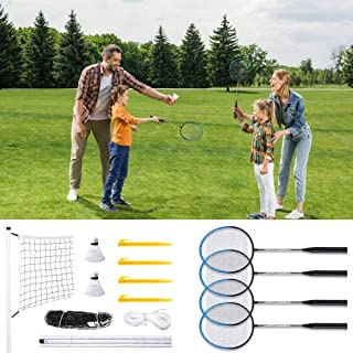 Badminton Sets for Backyards, Badminton Set Outdoor Sport, Badminton Rackets Set of 4, Badminton Net System and Shuttlecock, Sports and Outdoor Game for Family