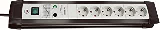 Brennenstuhl Premium Line Steckdosenleiste 6 fach mit Überspannungsschutz bis zu 30.000 A (Steckerleiste mit 3m Kabel und Schalter, Made in Germany) schwarz/grau