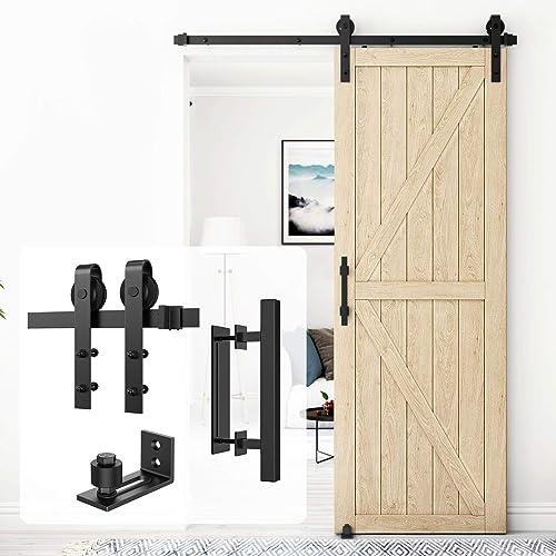 Homlux 5ft Heavy Duty Sturdy Sliding Barn Door Hardware Kit Single Door Whole Set Include 1x Square Door Handle, 1x F...