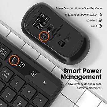VicTsing Wireless Keyboard and Mouse Combo [Energy Saving], 3 Level DPI Adjustable Wireless Mouse and 2.4GHz Computer...
