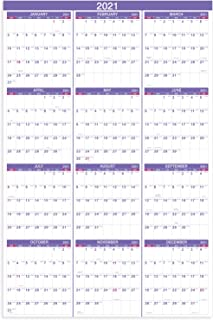 2021 Yearly Wall Calendar - 2021 Wall Calendar with Julian Date, From January to December 2021, Thick Paper, Vertical, 34....