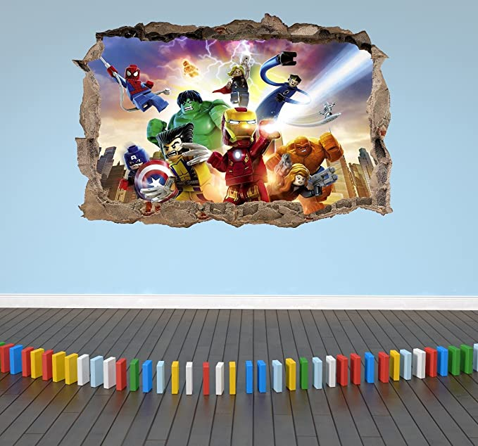 WTQang Stickers muraux Lego Avengers 3D Sticker mural pour enfants Smashed Breakout Boys Girls Chambre