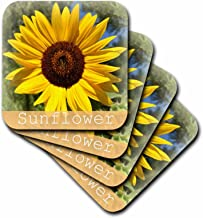 3dRose cst_33908_3 Bright Yellow Sunflower-Flowers-Macro Photography-Ceramic Tile Coasters, Set of 4