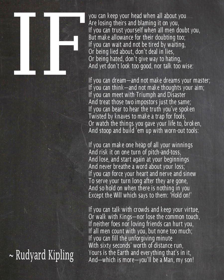 IF Low price Brand new Poem Art Print Poster Rudyard by Kipling
