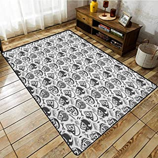 Classroom Rug,Manly,Greyscale Pattern with Rider Skulls Bone Bikers Repair Shops Services Art,Anti-Static, Water-Repellent Rugs,3'11