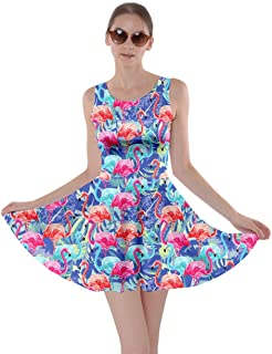 blue dress with pink flamingos