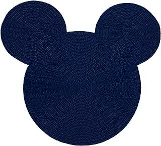 Ethan Allen | Disney Braided Mickey Mouse Rug, 3' x 3', Midnight Blue