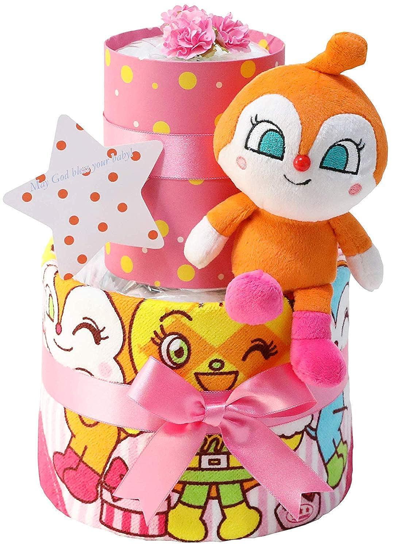 オムツケーキ 出産祝い セガトイズ アンパンマン 名入れ刺繍 2段 おむつケーキ ぬいぐるみ ご出産祝い 女の子向け(ピンク系) パンパーステープタイプSサイズ