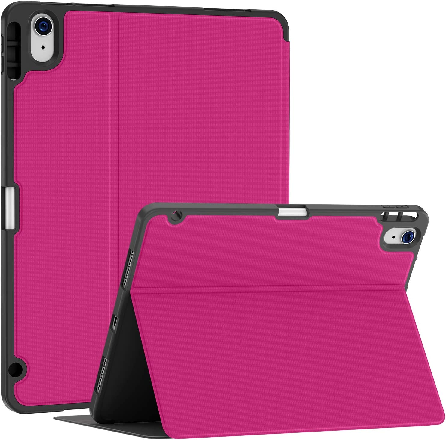 Soke Case for iPad Air 4th Generation 2020, iPad 10.9'' Case with Pencil Holder, Premium Shockproof Stand Folio Case[Support Touch ID + The 2nd Pencil Charging], Smart Soft TPU Back Cover, Hot Pink