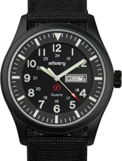 Mens Waterproof Military Tactical Field Watch Date & Day 12/24Hr Nylon Strap