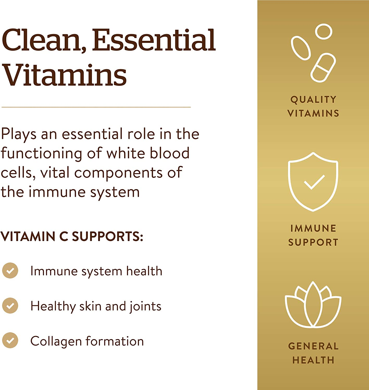 Solgar Vitamin C 1000 mg, 250 Vegetable Capsules - Antioxidant & Immune Support - Overall Health - Healthy Skin & Joints - Bioflavonoids Supplement - Non GMO, Vegan, Gluten Free, Kosher - 250 Servings : Health & Household