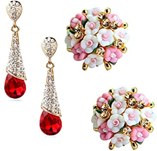 Sukkhi Dazzling Gold Plated Floral Crystals from Swarovski Dangle Earring Combo For Women (SKR58128)