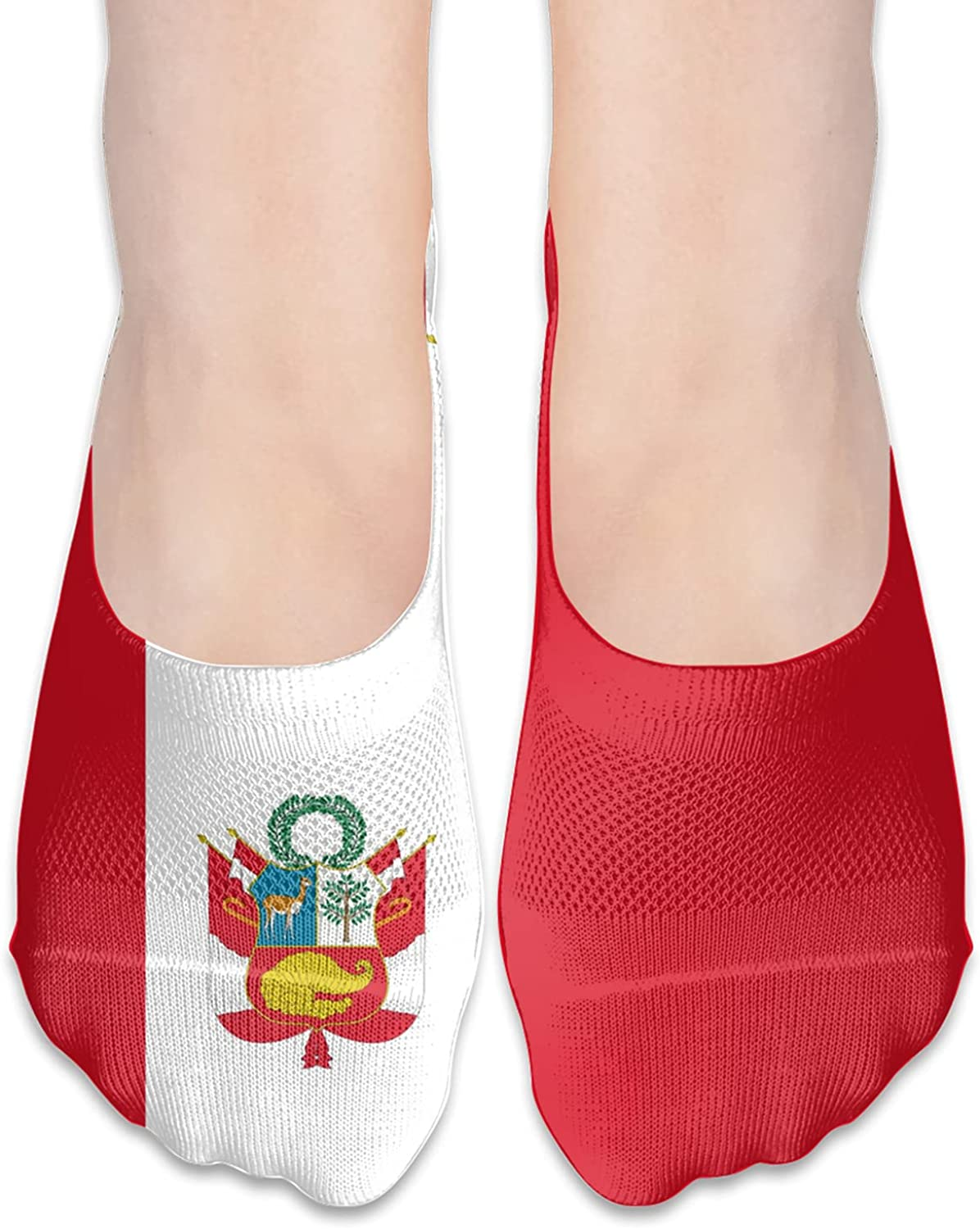 Peru Peruvian Flag Unisex Adult Breathable Liner Socks Non Slip No Show Ankle Socks Low Cut Invisible Socks