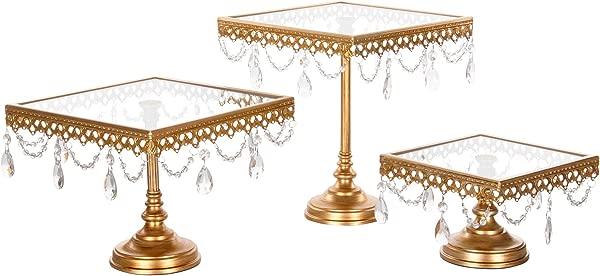Amalfi 装饰方形蛋糕架一套 3 包甜点纸杯蛋糕糕点糖果展示板婚礼活动生日派对玻璃顶部金属底座支架带水晶金色