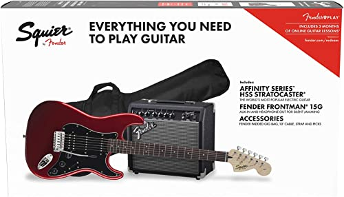 Squier by Fender Affinity Stratocaster Beginner Pack, Laurel Fingerboard, Candy Apple Red, with Gig Bag, Amp, Strap, ...