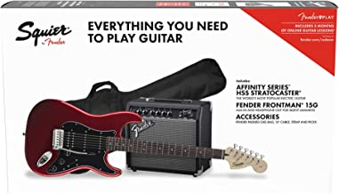 Squier by Fender Affinity Stratocaster Beginner Pack, Laurel Fingerboard, Candy Apple Red, with Gig Bag, Amp, Strap, Cable...