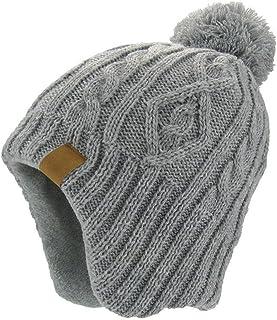 YUEGUANG 子供ニット 帽子 ポンポン付き 防寒 防風 耳あて 幼児 キッズ 冬 ニットキャップ 保温 かわいい