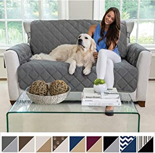 MIGHTY MONKEY Premium Reversible Loveseat Slipcover, Seat Width to 54 Inch Furniture Protector, 2 Inch Elastic Strap, Washable Slip, Protects from Pets, and Kids, Love Seat, Charcoal Light Gray