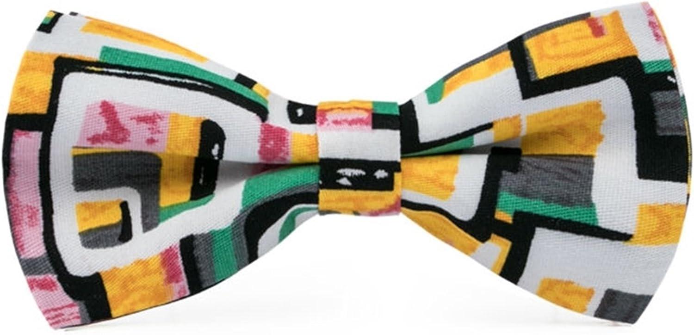 Men's Green Yellow White & Black Cotton Bow Tie Hanky Cufflinks Set