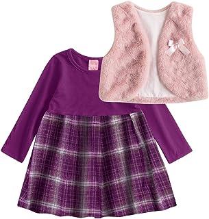 Conjunto Vestido + Colete Kinha em Cotton Stretch, Flanela e Pelo Inverno Xadrez
