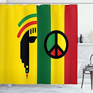 Ambesonne Rasta Shower Curtain, Iconic Barret Reggae and Jamaican Music Culture with Peace and Borders, Cloth Fabric Bathroom Decor Set with Hooks, 70