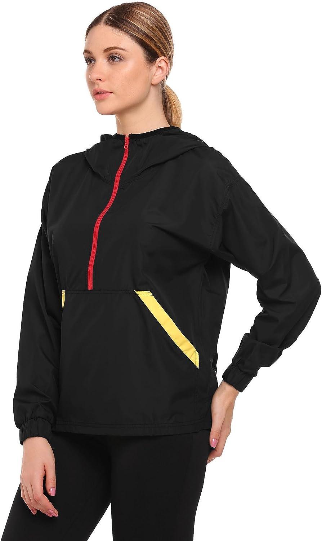 Guteer Womens Lightweight Waterproof Rain Jacket Hooded Coat with Kangroo Pocket