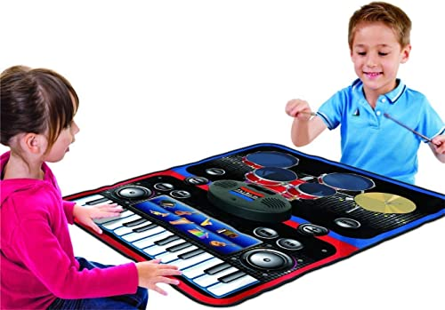Mat Piano 2 in 1 Functional Drum Piano fold able Music Mat with 5 Piece Drum 2 Drum Sticks 14 Demos 24 Key Piano Keyboard with 8 Different Record able Musical Instruments Powerful Speakers