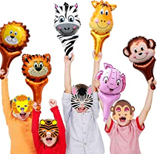 Jungle Safari Animal Theme Party Set - 12pcs Handhold Jungle Animal Balloons, 6pcs SafarFoam Animal Masks for Kids Jungle Themed Zoo Animal Birthday Party Supplies