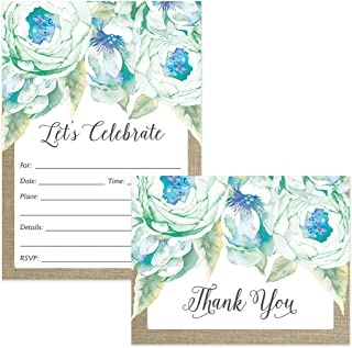 All Occasion Invitations (100) & Matched Thank You Cards (100) Set with Envelopes Blue Flowers Birthday Party Office Retirement Large Event Fill-in Invites & Folded Thank You Notes Best Value Pair
