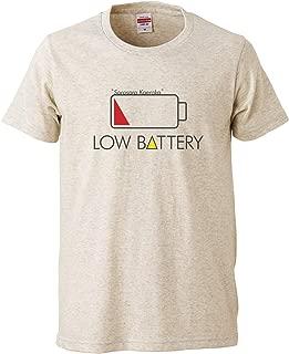[Chara Park] おもしろTシャツ LOW BATTERY ローバッテリー プリントTシャツ ユニセックス M L グレー インディゴ オートミール スミ 白 セメント