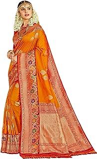 Royal party wedding indian woman Orange Bridal Silk Saree with Red border & Rich Pallu 6Sari Blouse 304