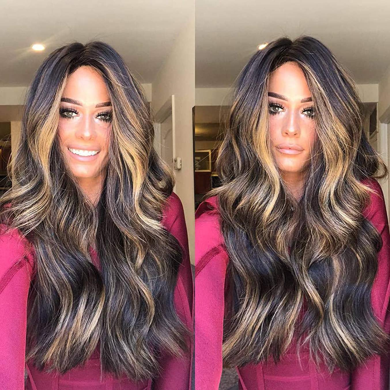 ????Clearance???? 28'' Long Curly Wig for Women Synthetic Middle Part Wig for Black Women Natural Black Wig for Daily Use Heat