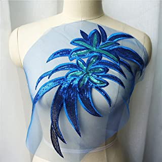 SKREOJF Feuilles de fleurs bleues bleue feuilles de dentelle robe de mariée brodée robe de mariée brodée collier maillage ...